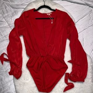 Red silky sexy blouse
